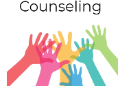 graphic of hands reaching out and Counseling is the header