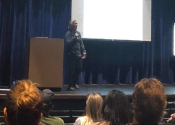 Photo of Joanna Mitchell presenting to parents at Back to School Night.