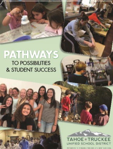Image of the cover of the 2018 TTUSD brochure showing students in action