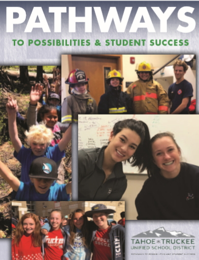 screenshot of the cover of the 2019 TTUSD brochure showing students in action