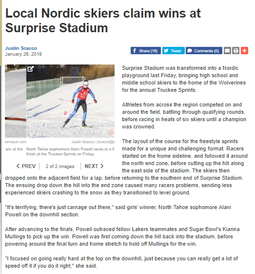 image of article online in Sierra Sun of Nordic racers