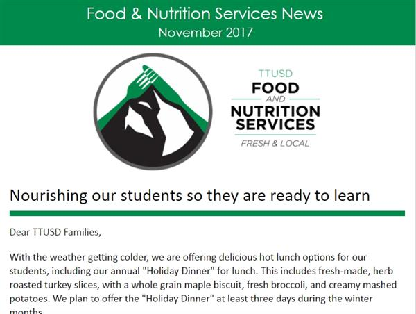 Screenshot of Food Services newsletter