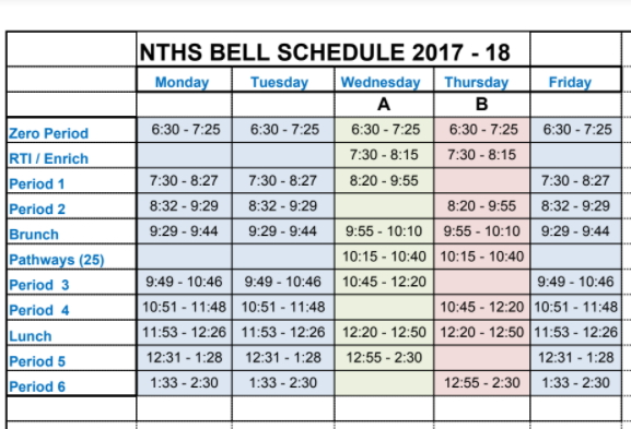 Image of a school's bell schedule from a distance