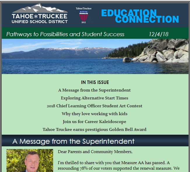 Screenshot of the top of the e-newsletter