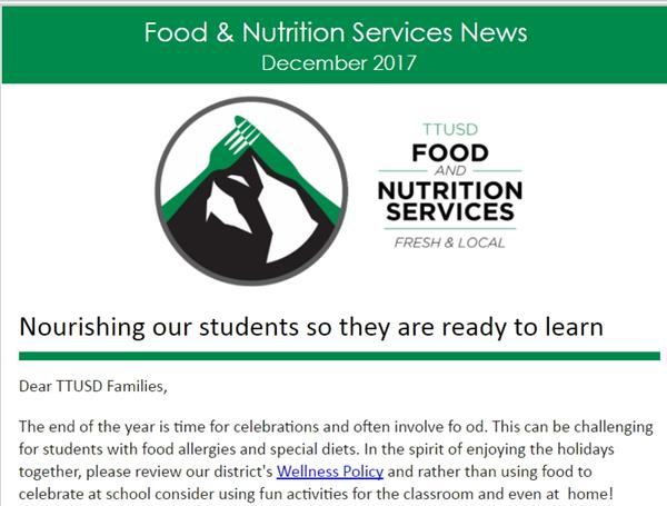 Screenshot of the top of the Food Service newsletter