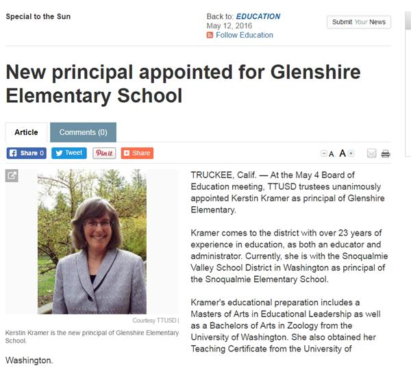 New principal appointed at Glenshire Elementary