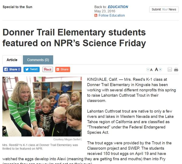 Donner Trail Elementary students featured on NPR's Science Friday