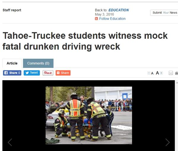 Tahoe-Truckee students witness mock fatal drunk driving wreck
