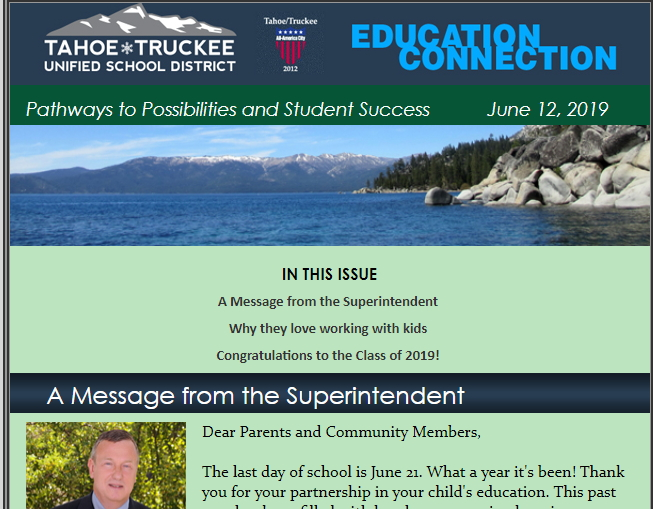 screenshot of the e-newsletter