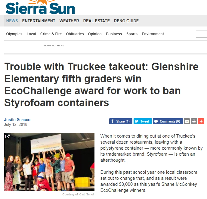 Image of online article in the Sierra Sun