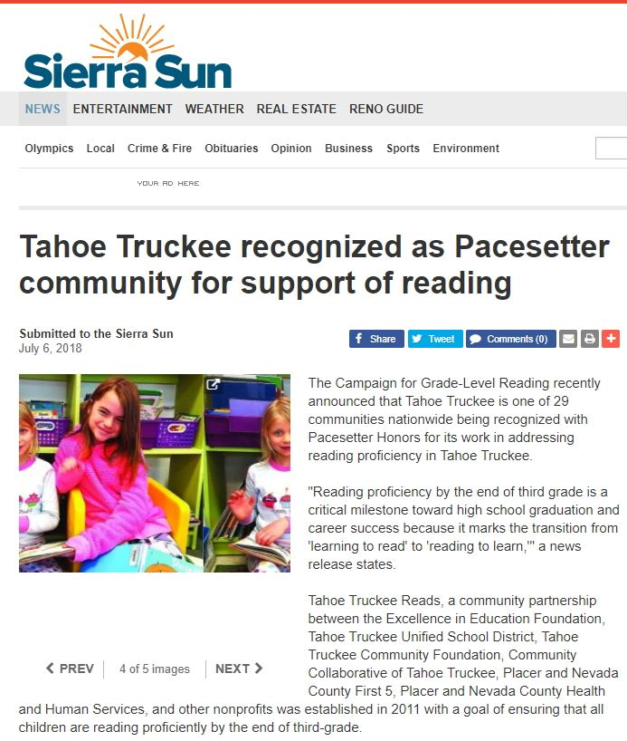 Tahoe Truckee recognized as Pacesetter community for support of reading