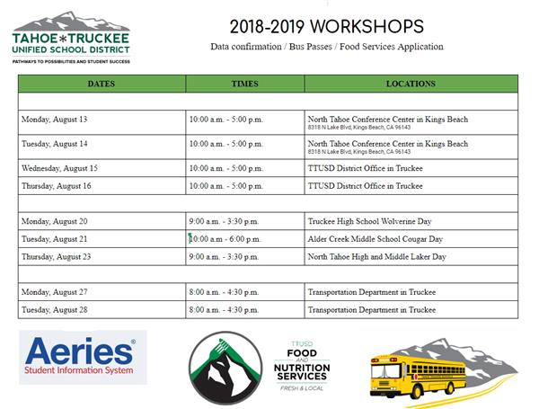 Image of Workshop flier with dates and times of parent workshops