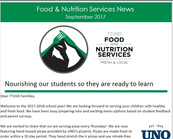Screenshot of our latest Food Services newsletter