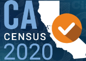 CA Census 2020 with a check mark over the outline of the state