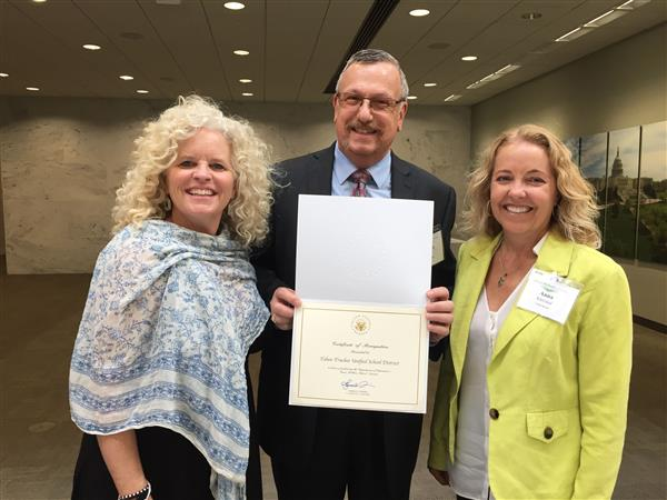 Missy Mohler of SWEP with Dr. Leri and Anna Klovstad from TTUSD with award