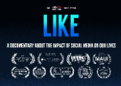 screenshot of the LIKE documentary homepage with logo and credits