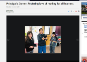 This is a screenshot of the online article in the Sierra Sun with a large photo of kids reading