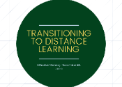 A circular image with text that says Transitioning to distance learning effective 11/23/2020