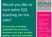image of top half of the flyer promoting Adult Education teaching positions