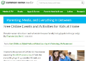 Screenshot of webpage from Common Sense Media with list of activities