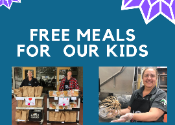 Image of food service workers with headline free meals for our kids