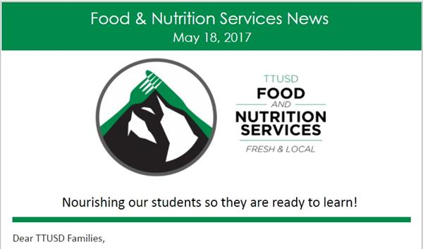 Screenshot of the Food Services newsletter