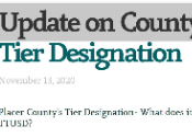 screenshot of 11.13.2020  message re County Tier Designation