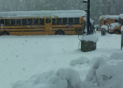 photo of a school bus in snow!