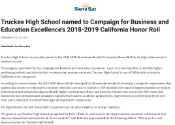 Truckee High School named to CBEE's 2018-2019 California Honor Roll