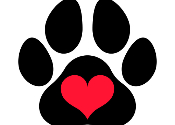 Clipart of paw print with a heart
